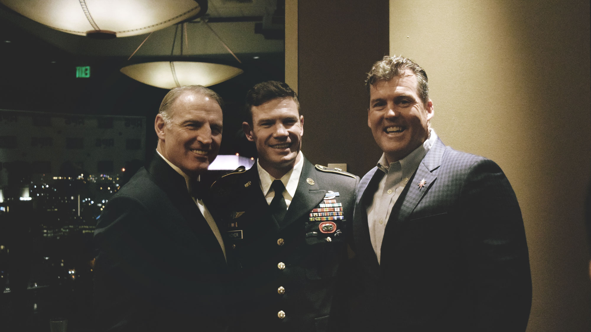 Army Ranger Veteran John Sercu, Green Beret Nate Boyer, and Air Force Security Specialist Veteran Rick Nelson at the Annual Rallypoint 6 Fundraiser